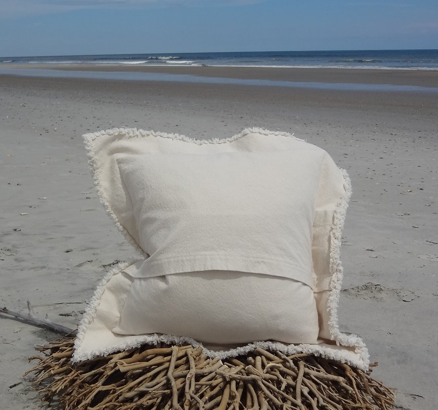 Ivory Canvas Pillow Back