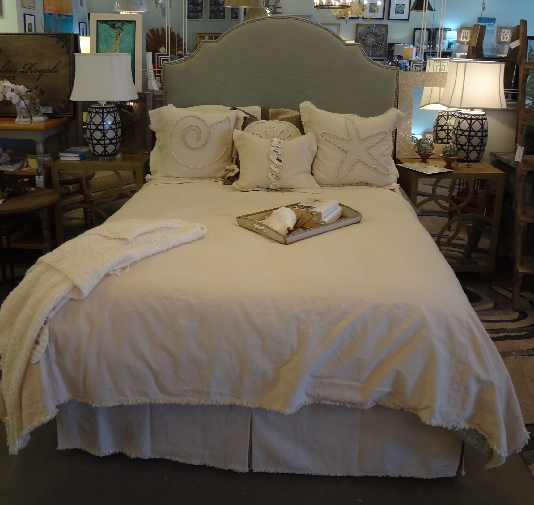 Natural Frayed Edge Duvet Cover (Queen)