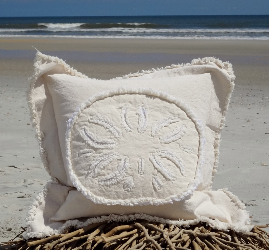 Sand Dollar Canvas Sea Pillow
