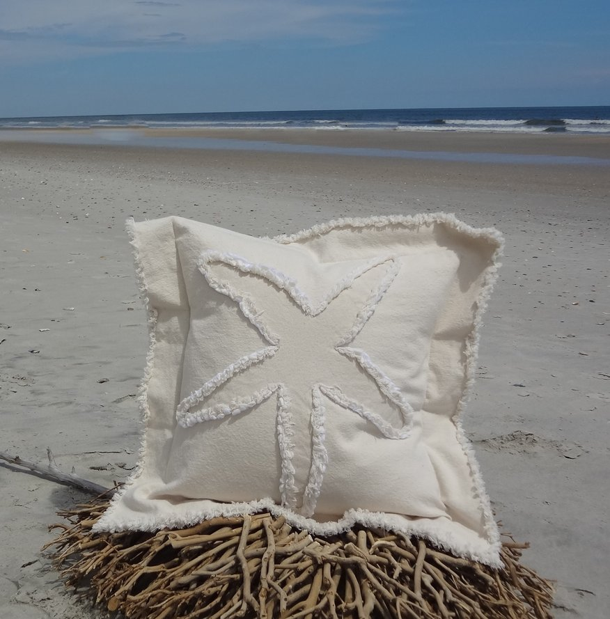 Starfish Canvas Sea Pillow